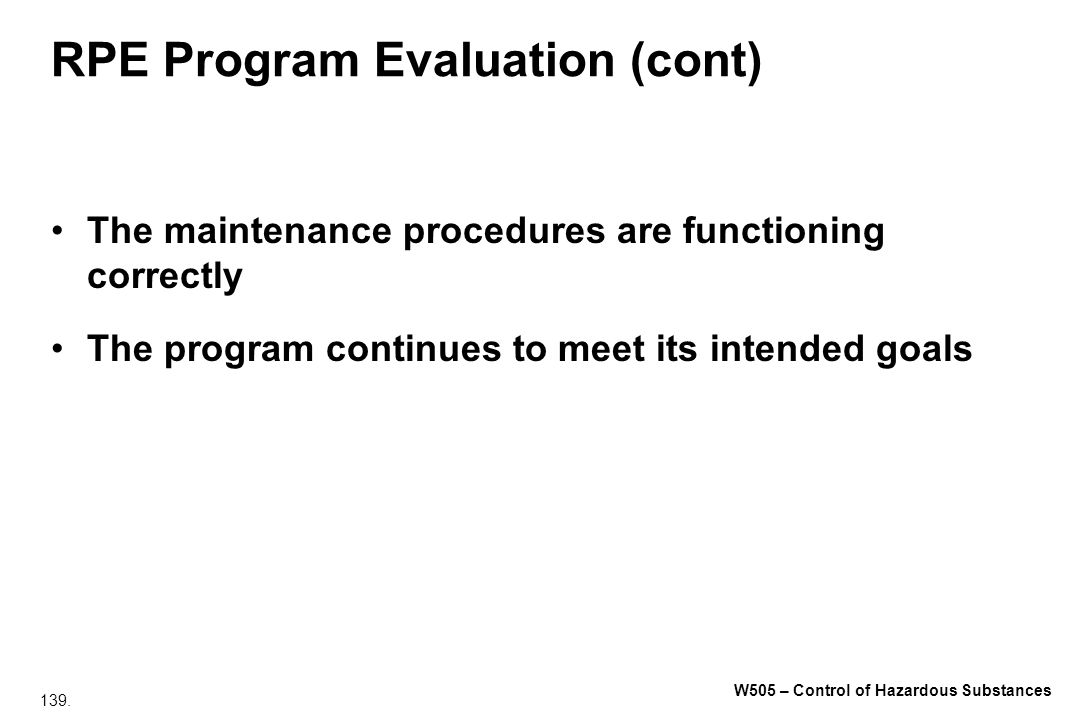 RPE Program Evaluation (cont)