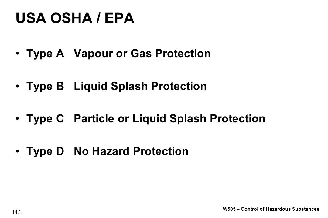 USA OSHA / EPA Type A Vapour or Gas Protection