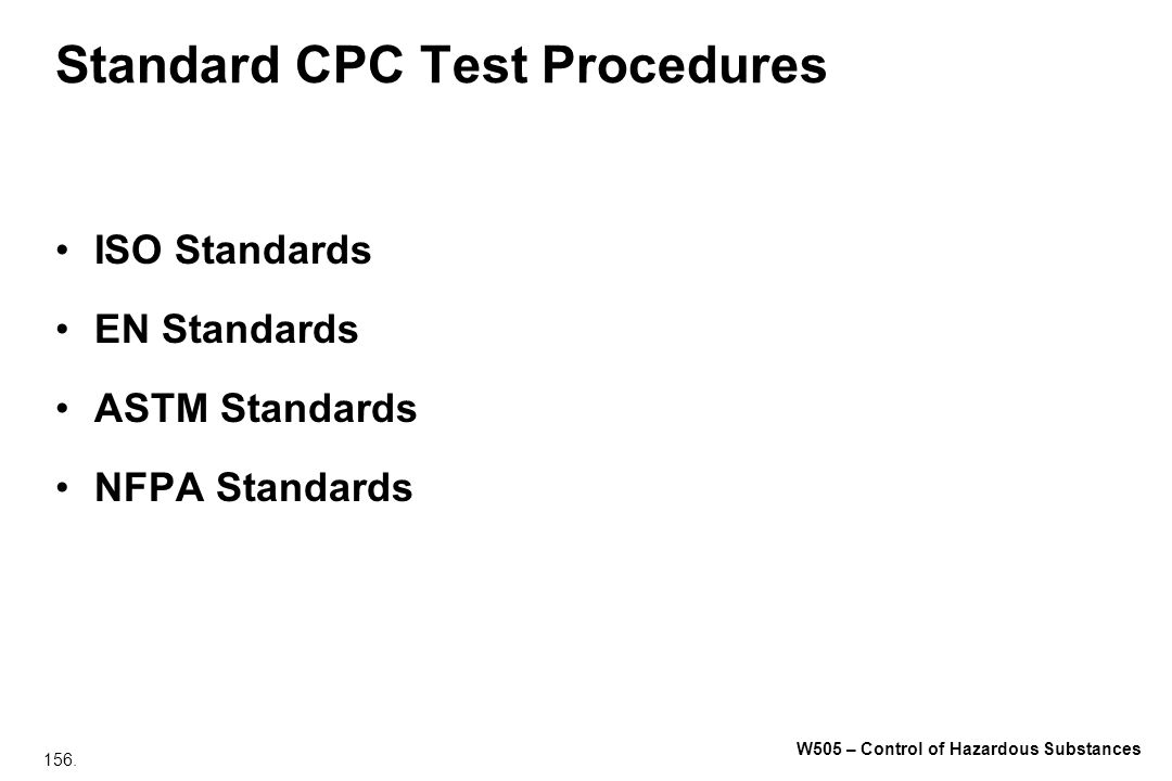 Standard CPC Test Procedures