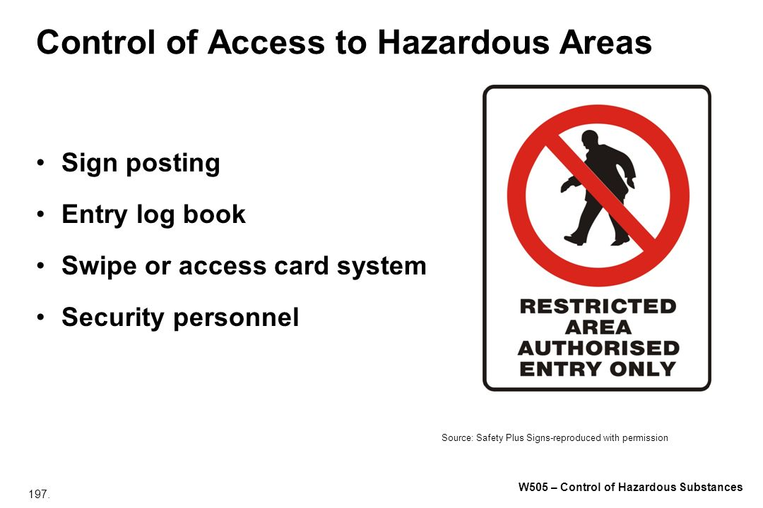 Control of Access to Hazardous Areas