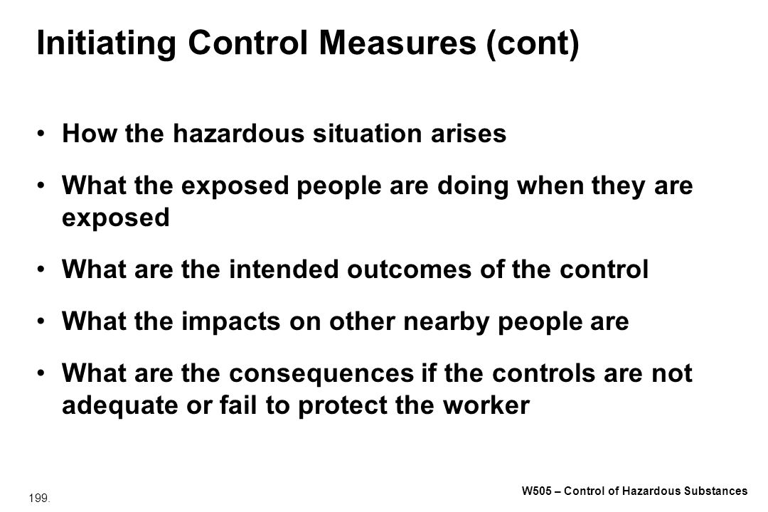 Initiating Control Measures (cont)