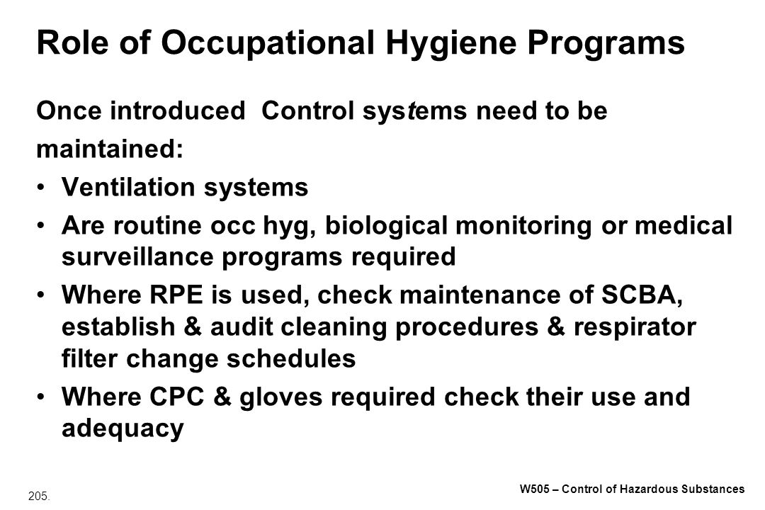 Role of Occupational Hygiene Programs
