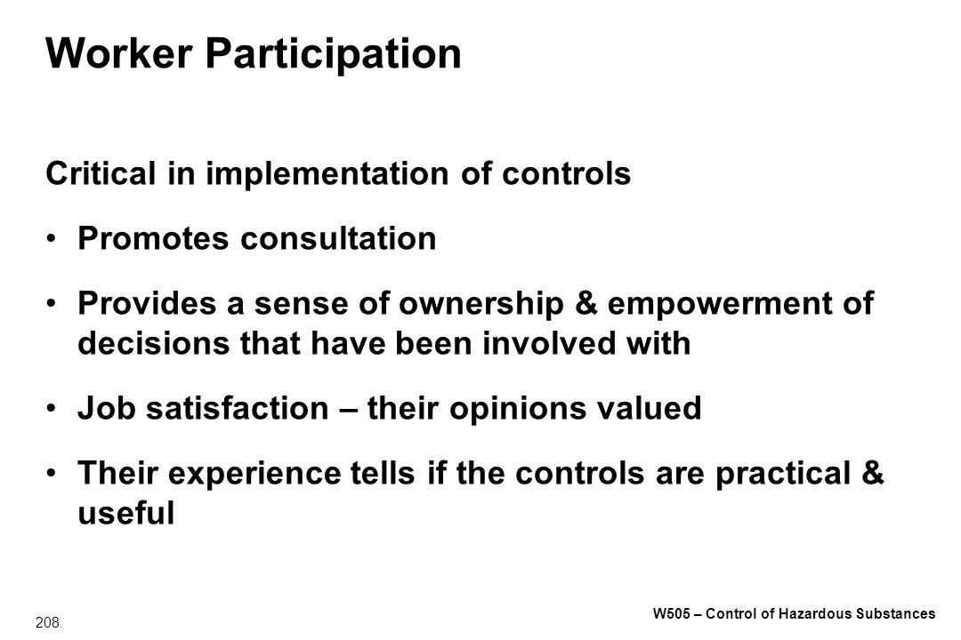 Worker Participation Critical in implementation of controls