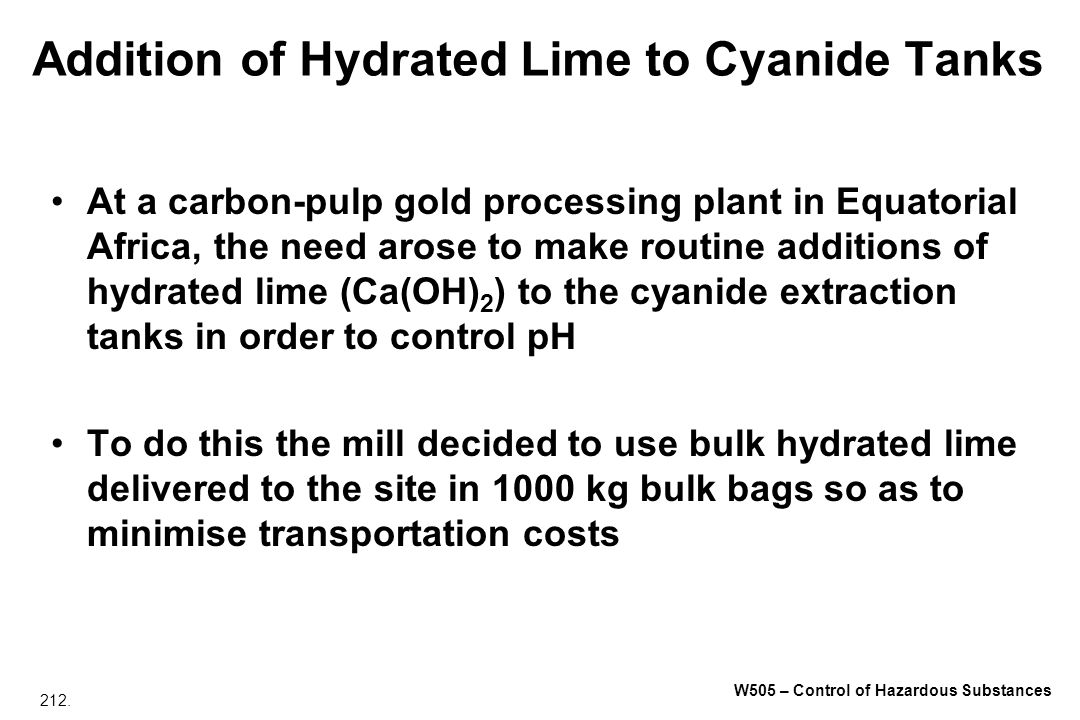 Addition of Hydrated Lime to Cyanide Tanks