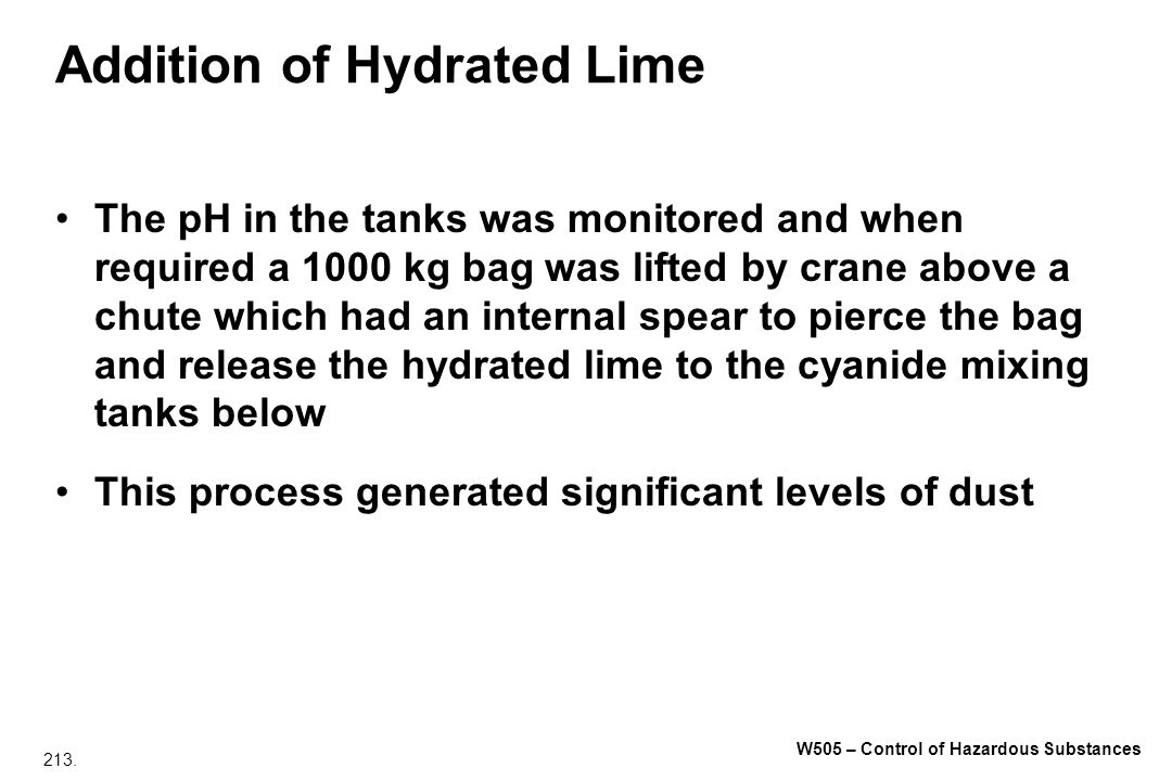 Addition of Hydrated Lime