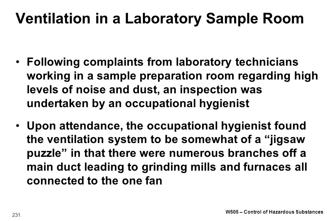 Ventilation in a Laboratory Sample Room
