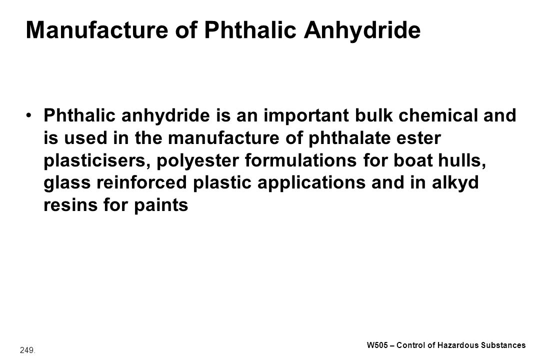 Manufacture of Phthalic Anhydride