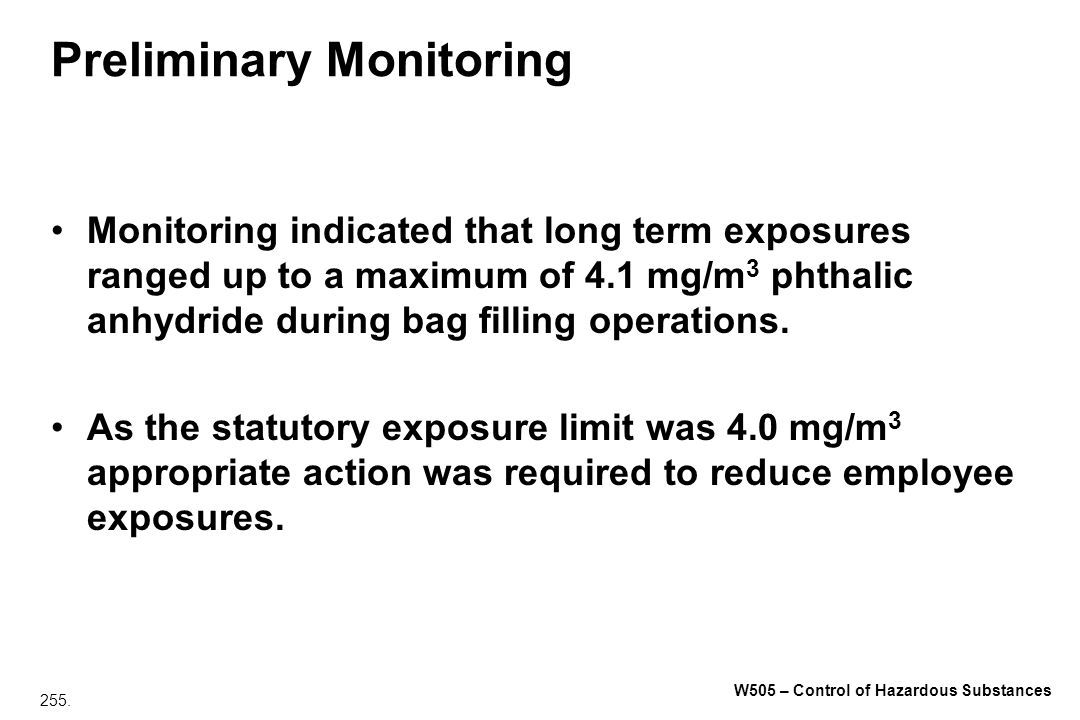 Preliminary Monitoring