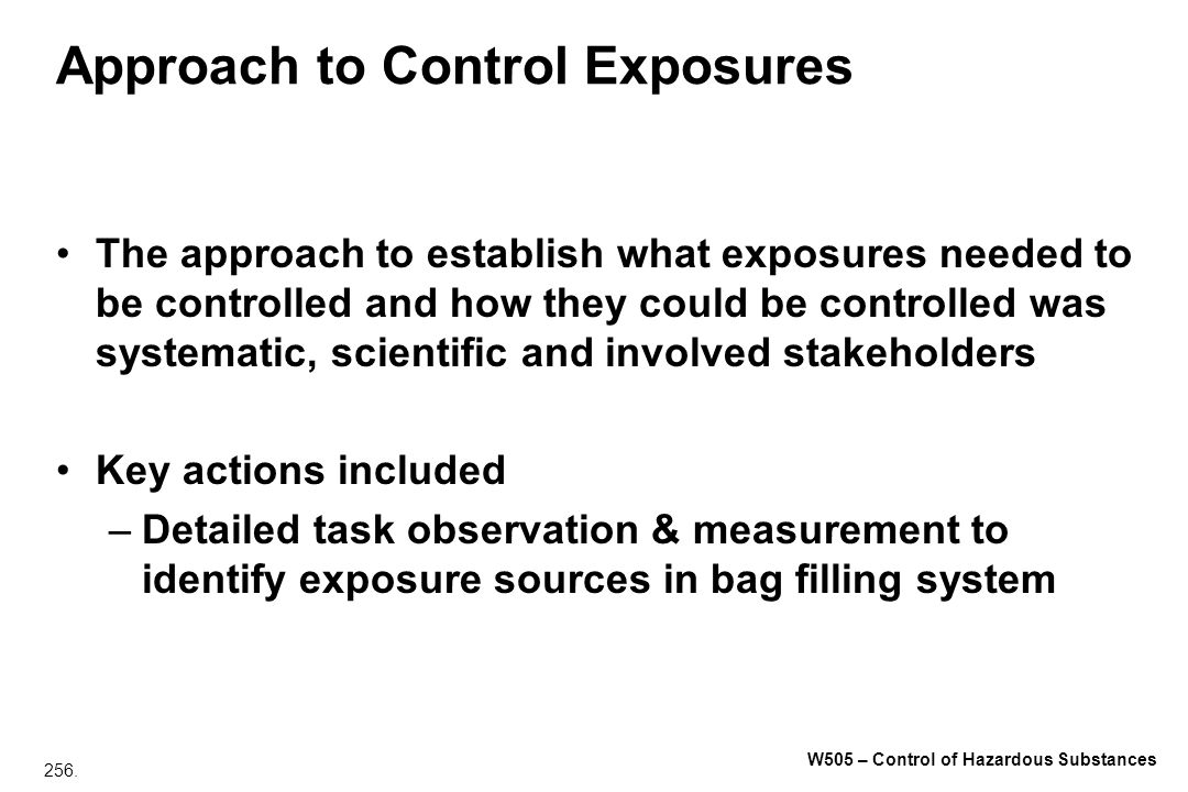 Approach to Control Exposures