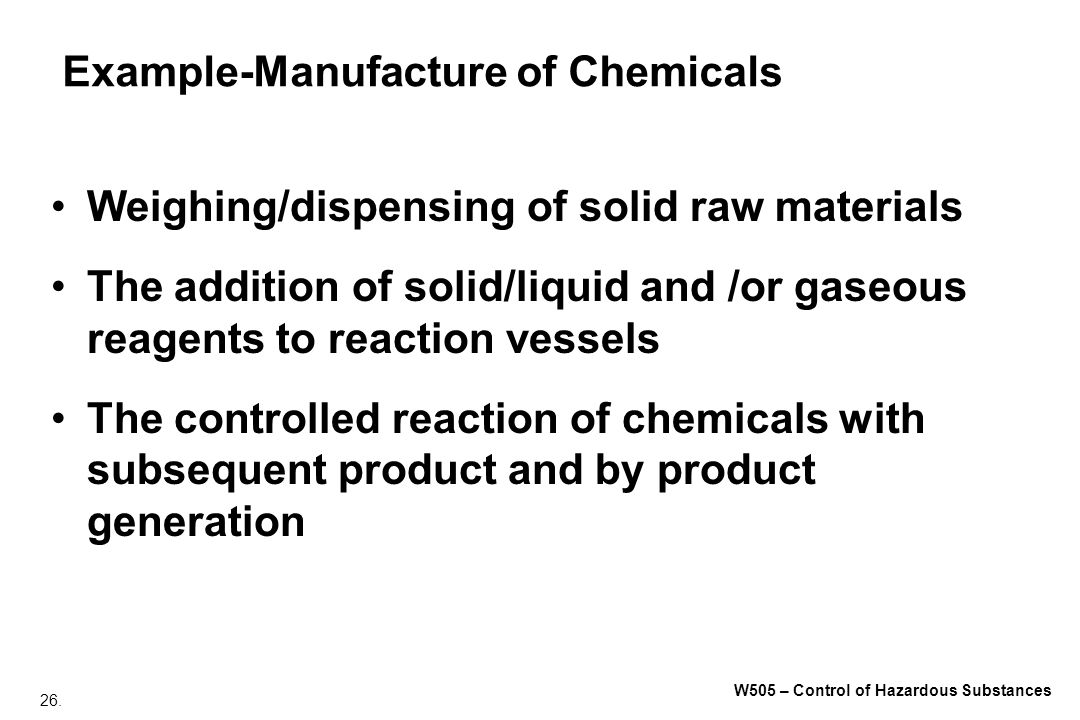 Example-Manufacture of Chemicals