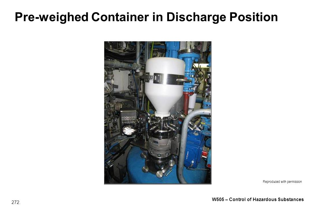 Pre-weighed Container in Discharge Position