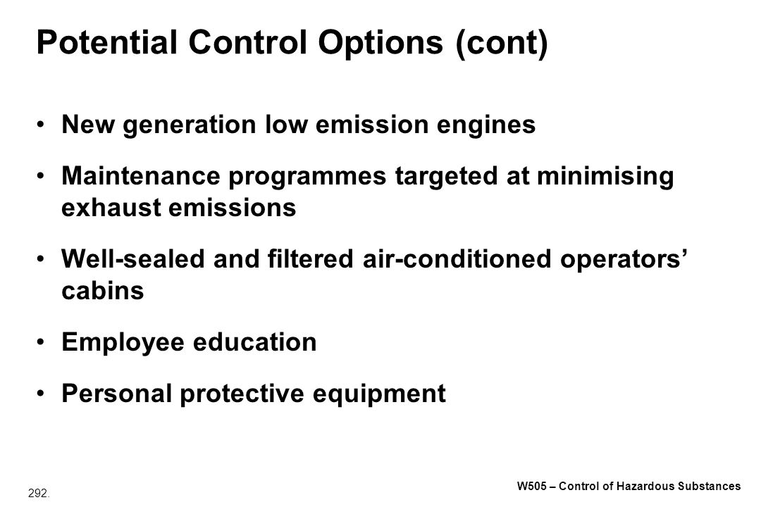 Potential Control Options (cont)
