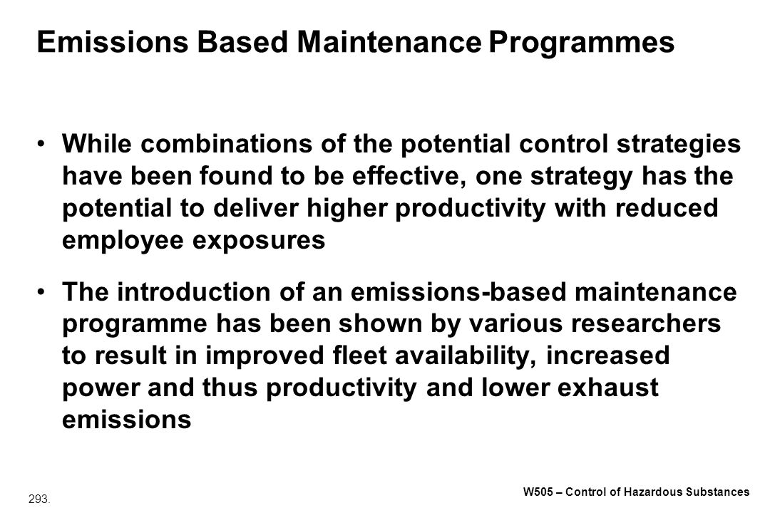 Emissions Based Maintenance Programmes