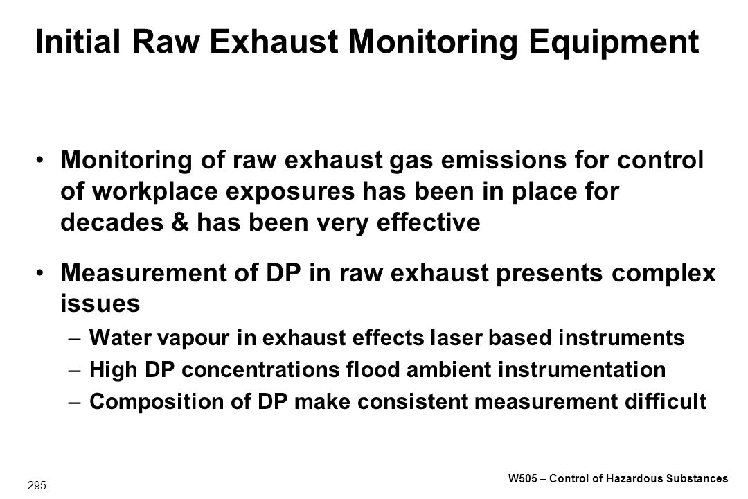 Initial Raw Exhaust Monitoring Equipment