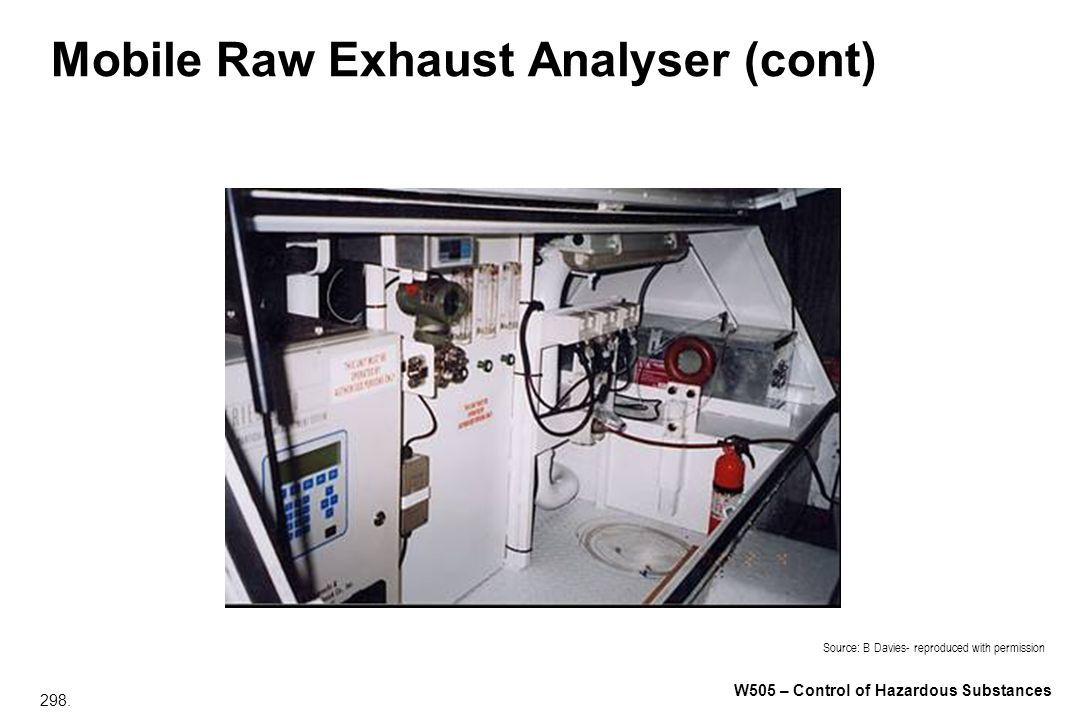 Mobile Raw Exhaust Analyser (cont)
