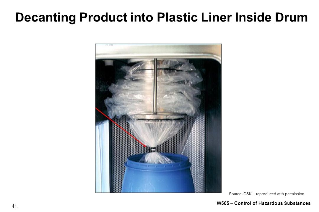 Decanting Product into Plastic Liner Inside Drum