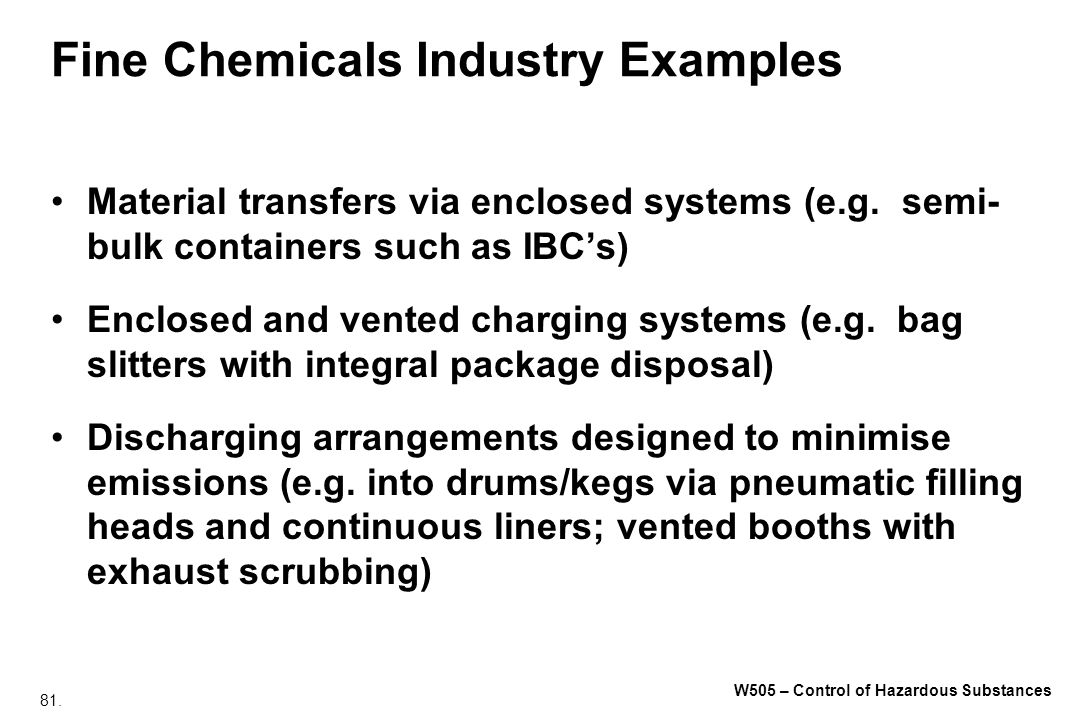 Fine Chemicals Industry Examples