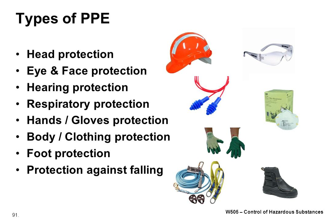 Types of PPE Head protection Eye & Face protection Hearing protection