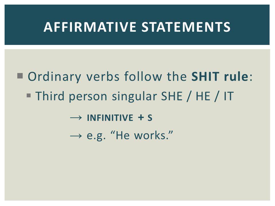 AFFIRMATIVE STATEMENTS