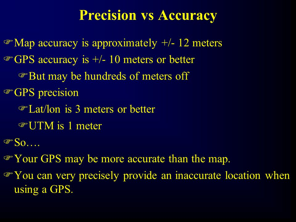 Precision vs Accuracy Map accuracy is approximately +/- 12 meters