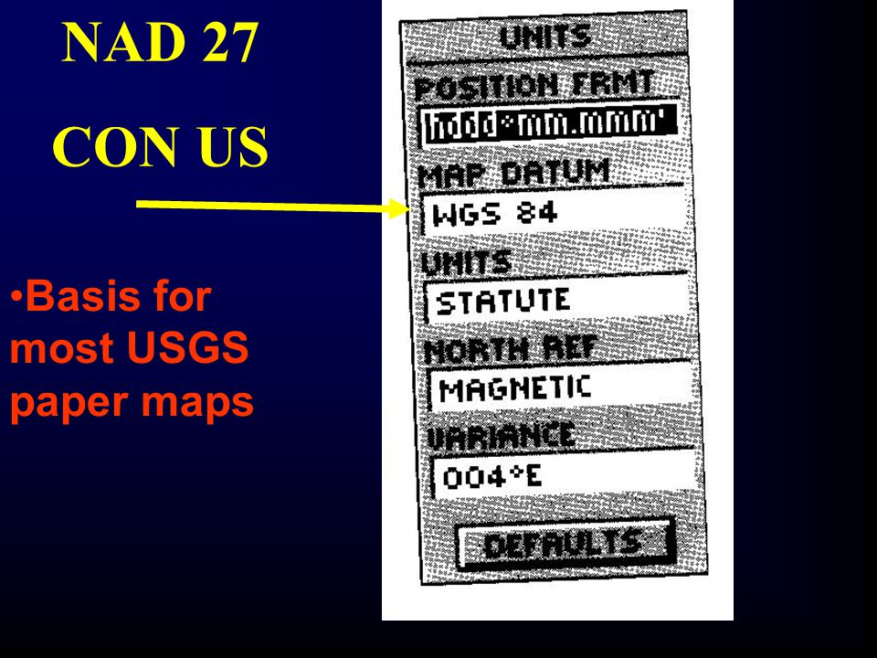 NAD 27 CON US Basis for most USGS paper maps