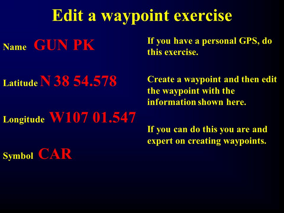 Edit a waypoint exercise