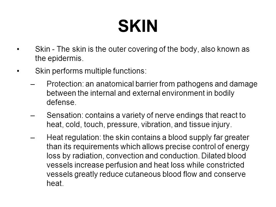 SKIN Skin - The skin is the outer covering of the body, also known as the epidermis. Skin performs multiple functions: