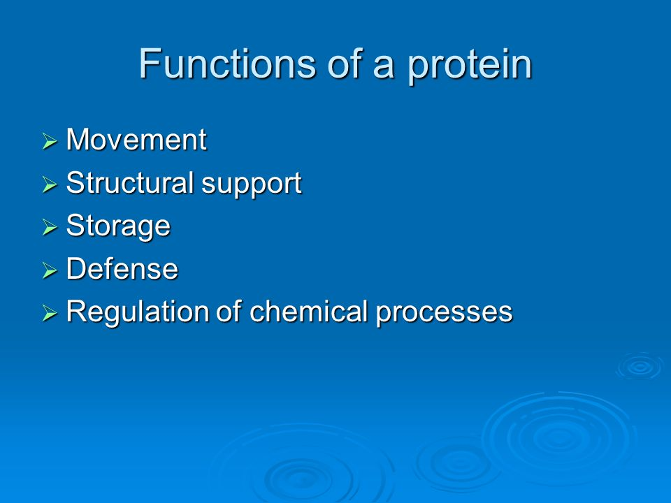 Functions of a protein Movement Structural support Storage Defense