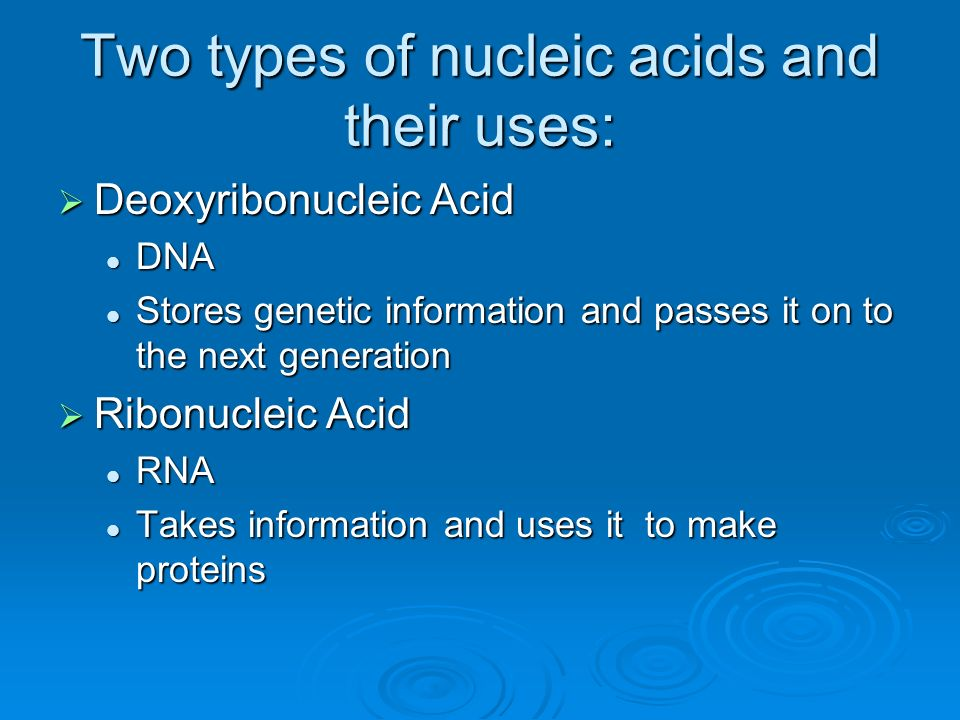 Two types of nucleic acids and their uses: