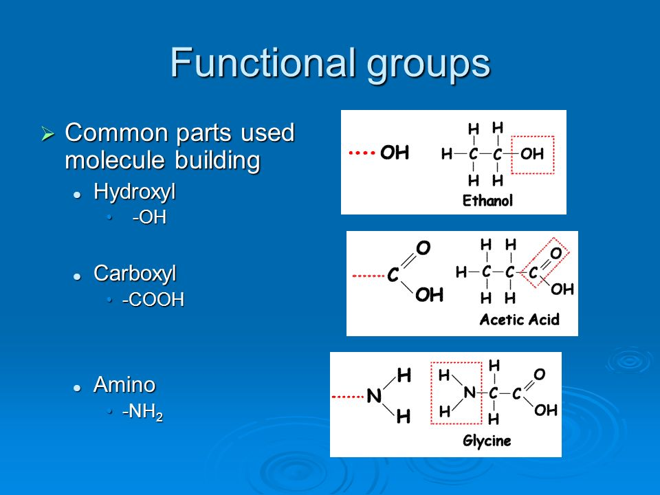Functional groups Common parts used molecule building Hydroxyl