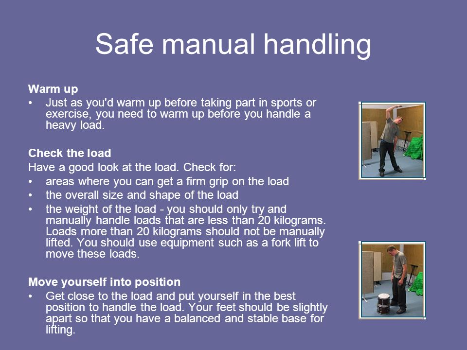 Safe manual handling Warm up