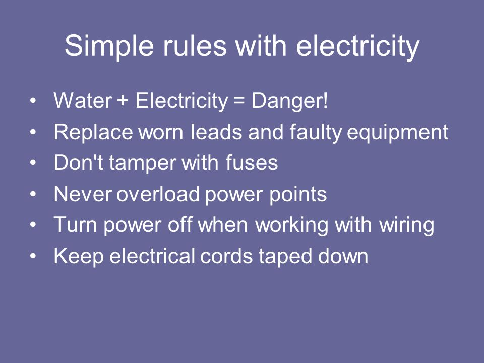 Simple rules with electricity