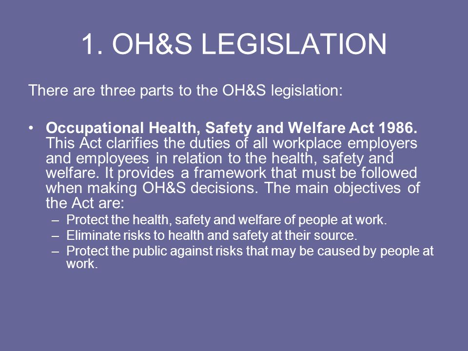 1. OH&S LEGISLATION There are three parts to the OH&S legislation: