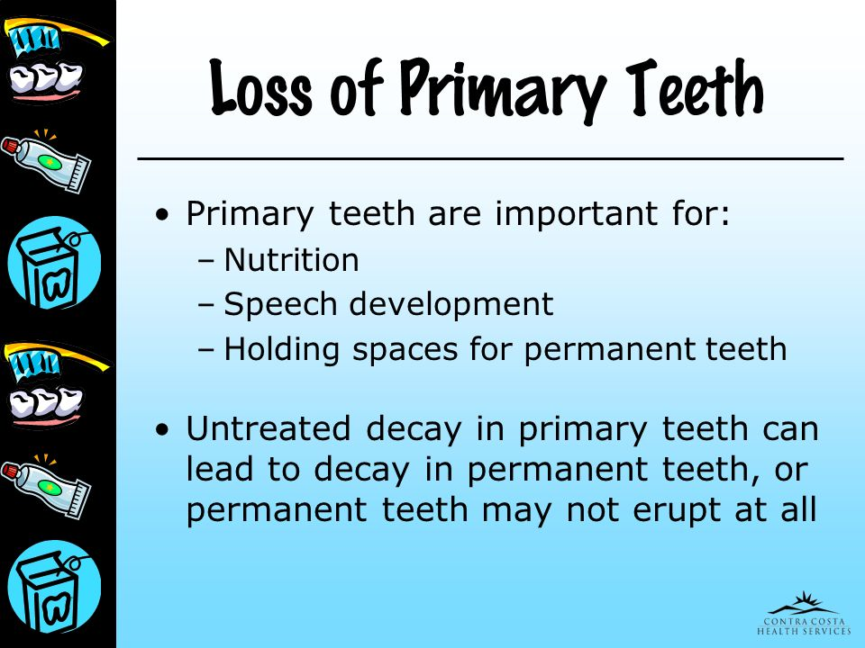Loss of Primary Teeth Primary teeth are important for: