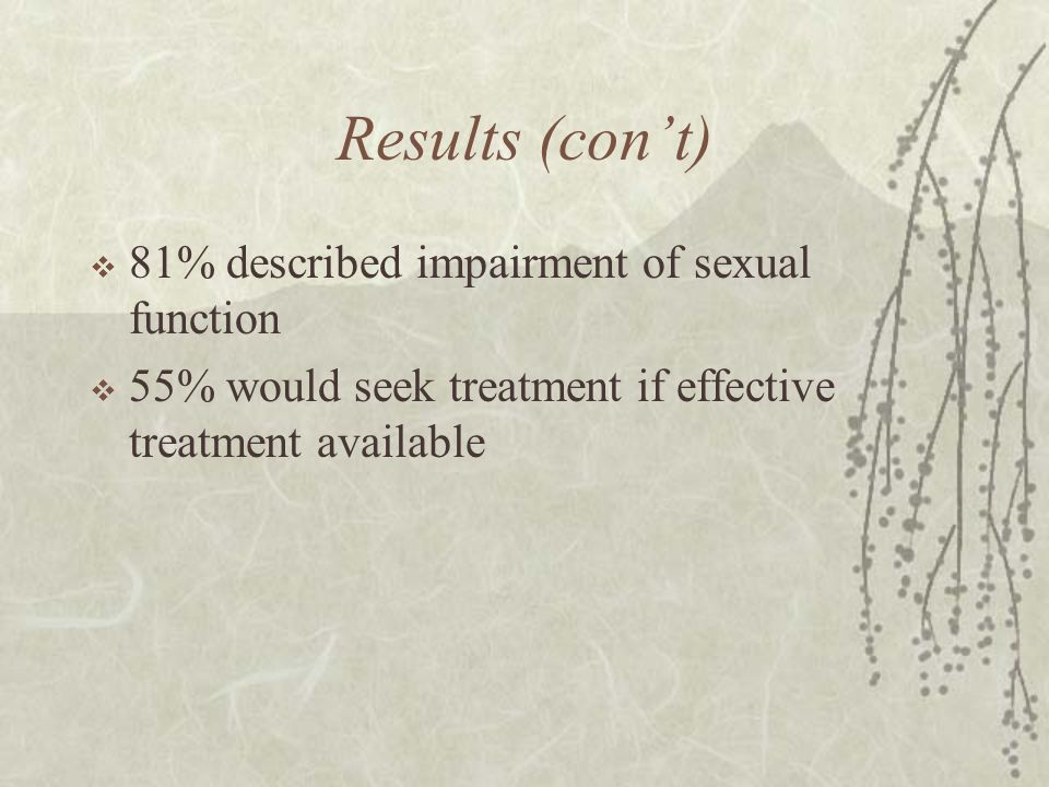 Results (con't) 81% described impairment of sexual function