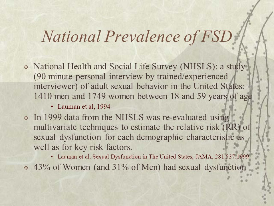 National Prevalence of FSD