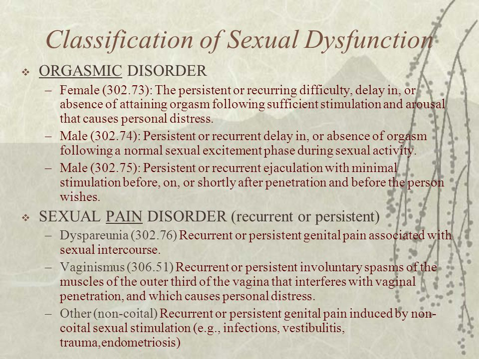 Classification of Sexual Dysfunction