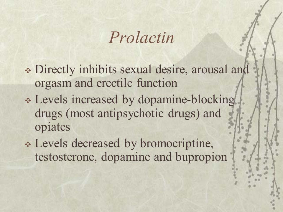 Prolactin Directly inhibits sexual desire, arousal and orgasm and erectile function.