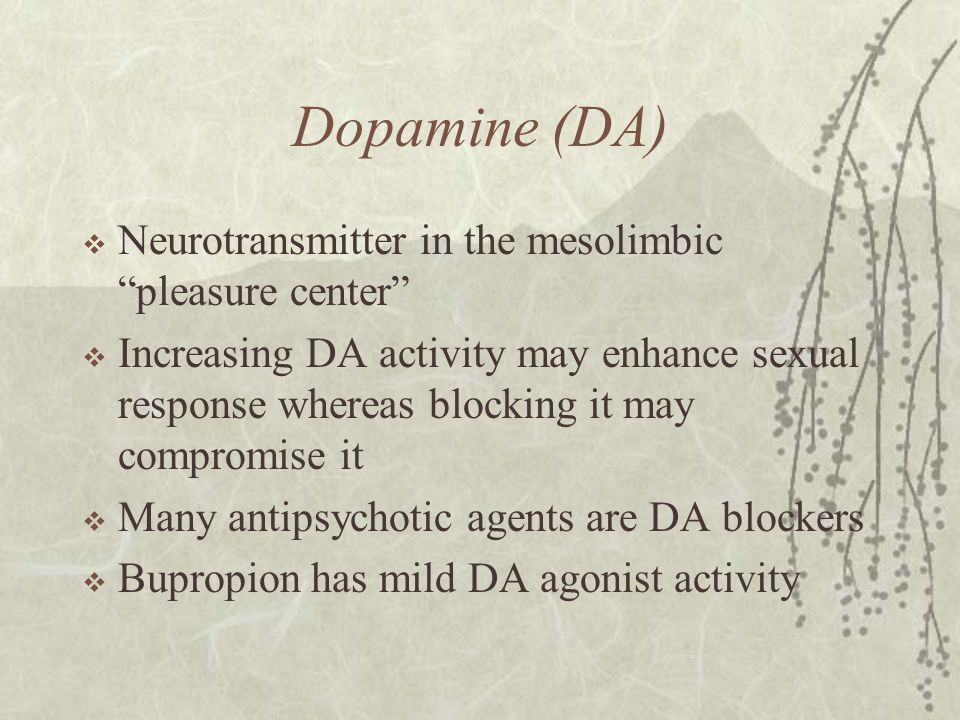 Dopamine (DA) Neurotransmitter in the mesolimbic pleasure center