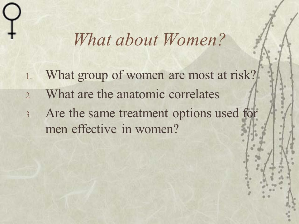 What about Women What group of women are most at risk
