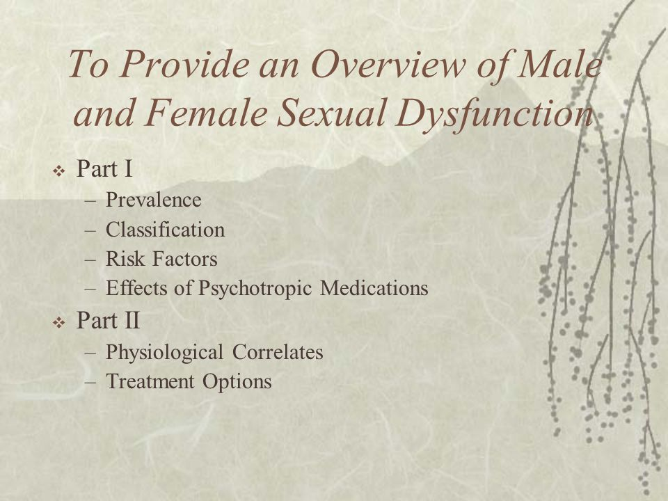 To Provide an Overview of Male and Female Sexual Dysfunction