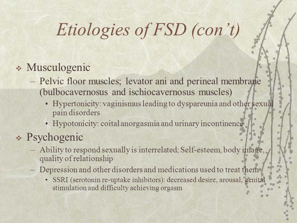 Etiologies of FSD (con't)
