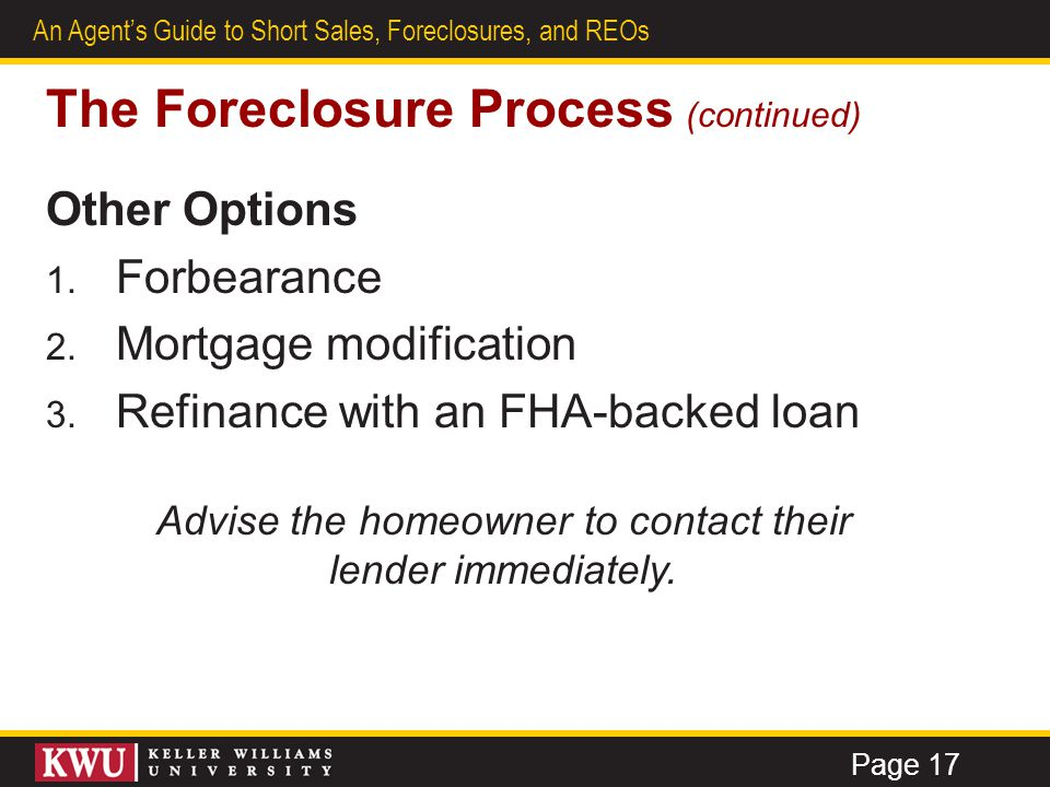 The Foreclosure Process (continued)