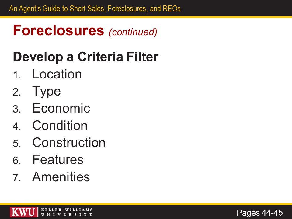 Foreclosures (continued)