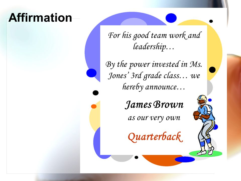 James Brown as our very own Quarterback