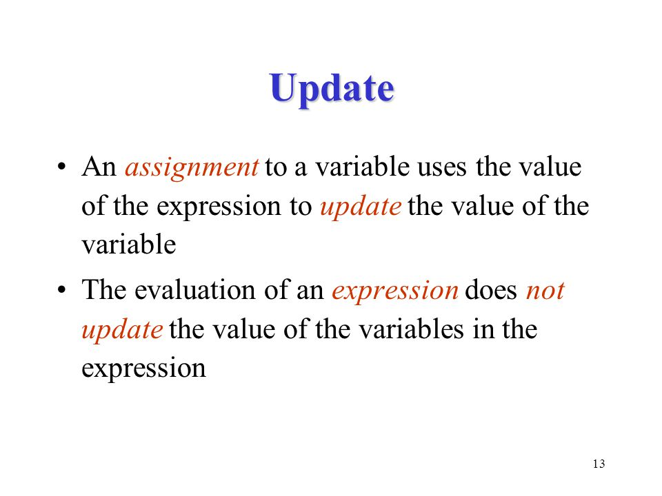 Update An assignment to a variable uses the value of the expression to update the value of the variable.