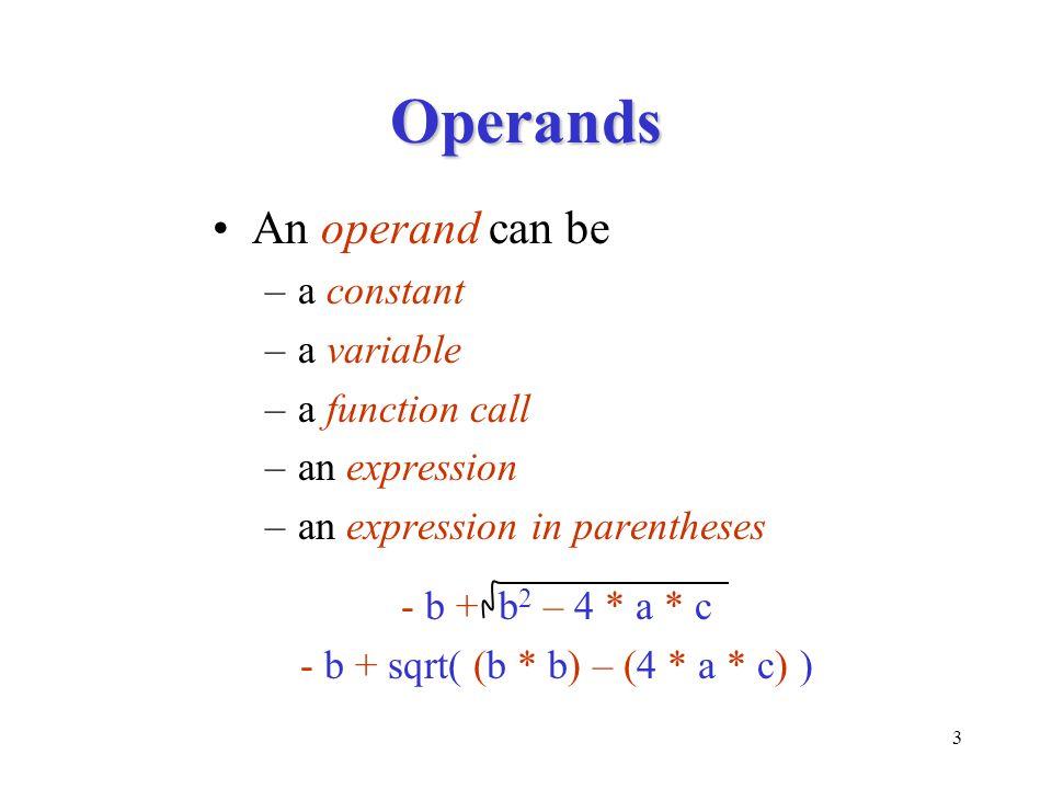 - b + sqrt( (b * b) – (4 * a * c) )