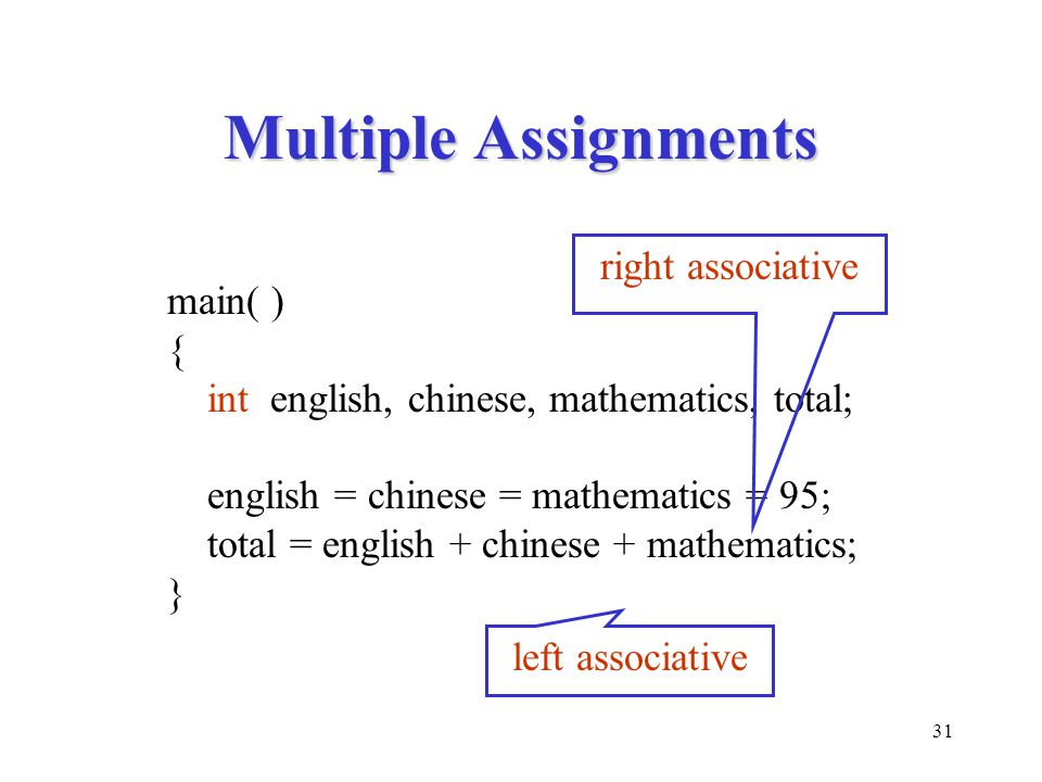 Multiple Assignments right associative main( ) {