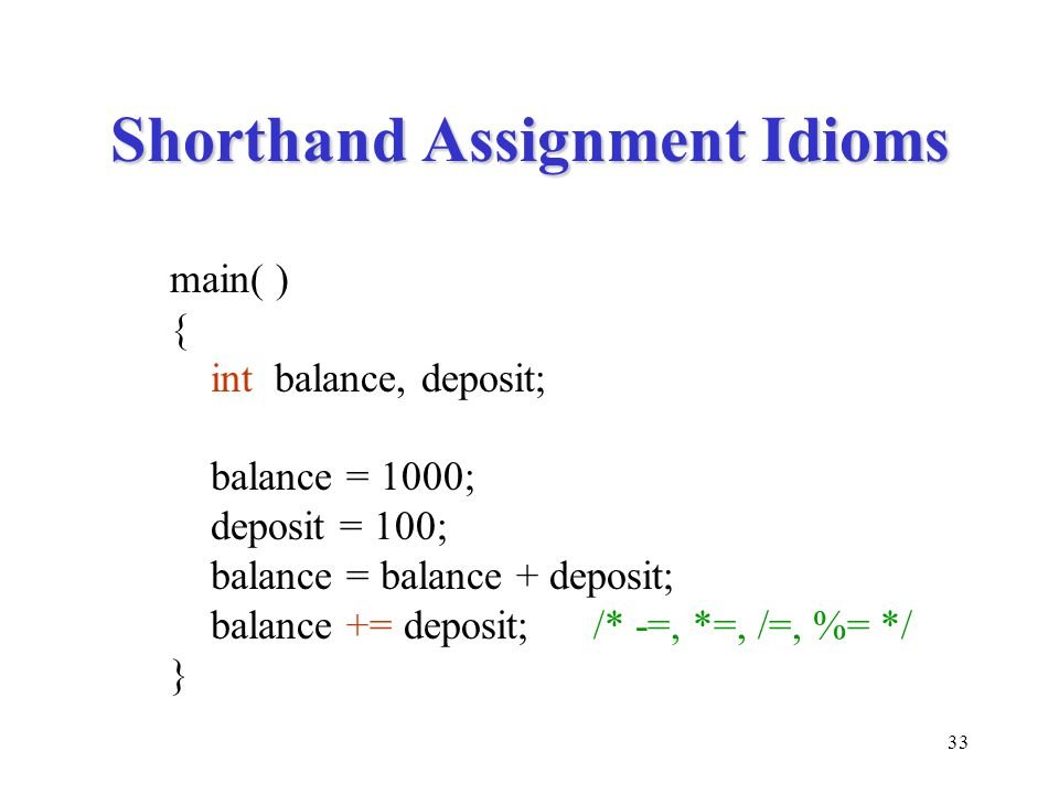Shorthand Assignment Idioms