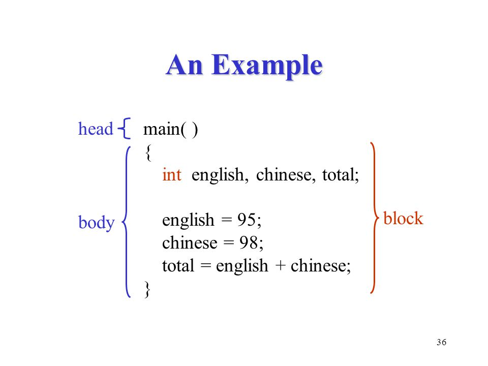 An Example head main( ) { int english, chinese, total; english = 95;